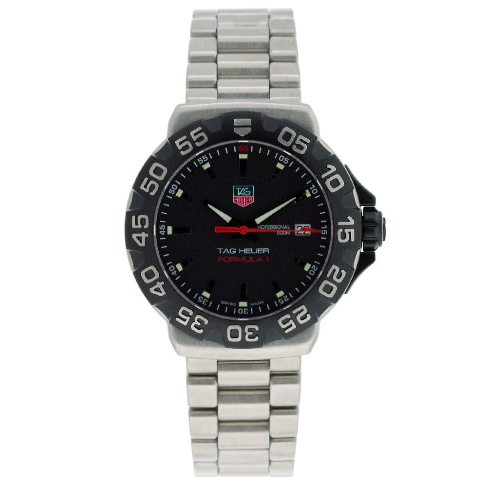 610-631 - Tag Heuer Men's Formula 1 Swiss Quartz Black Dial Unidirectional Rotating Bezel Bracelet Watch