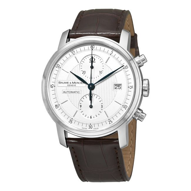 610-811 - Baume & Mercier 38mm Classima Swiss Made Automatic Chronograph Guilloche Dial Leather Strap Watch
