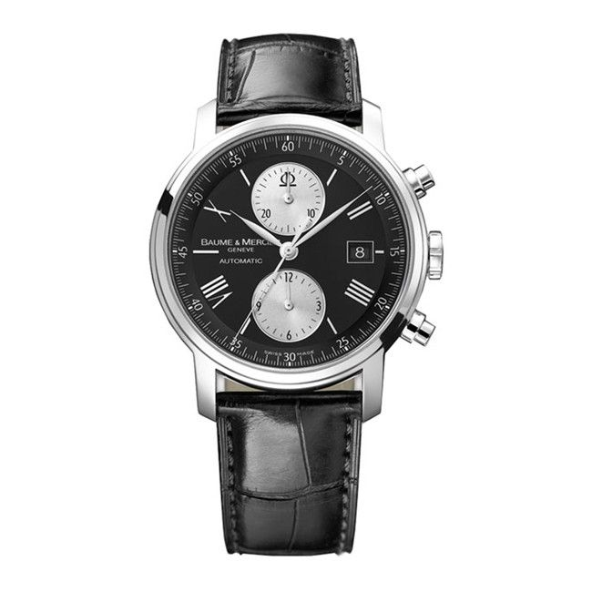 610-816 - Baume & Mercier 41mm Classima Swiss Made Automatic Chronograph Black Leather Strap Watch