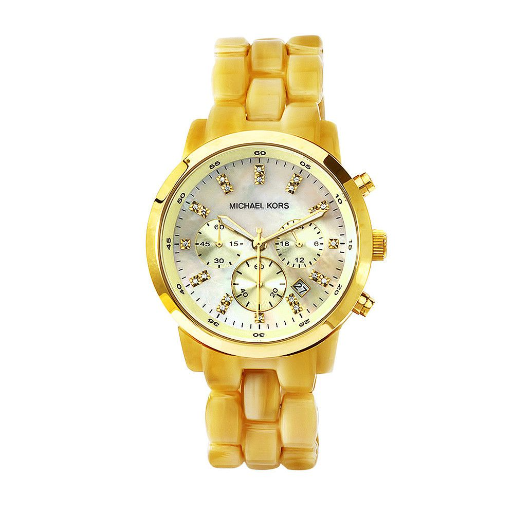 610-872 - Michael Kors Women's Horn Quartz Chronograph Crystal Accent Yellow Acetate Bracelet Watch