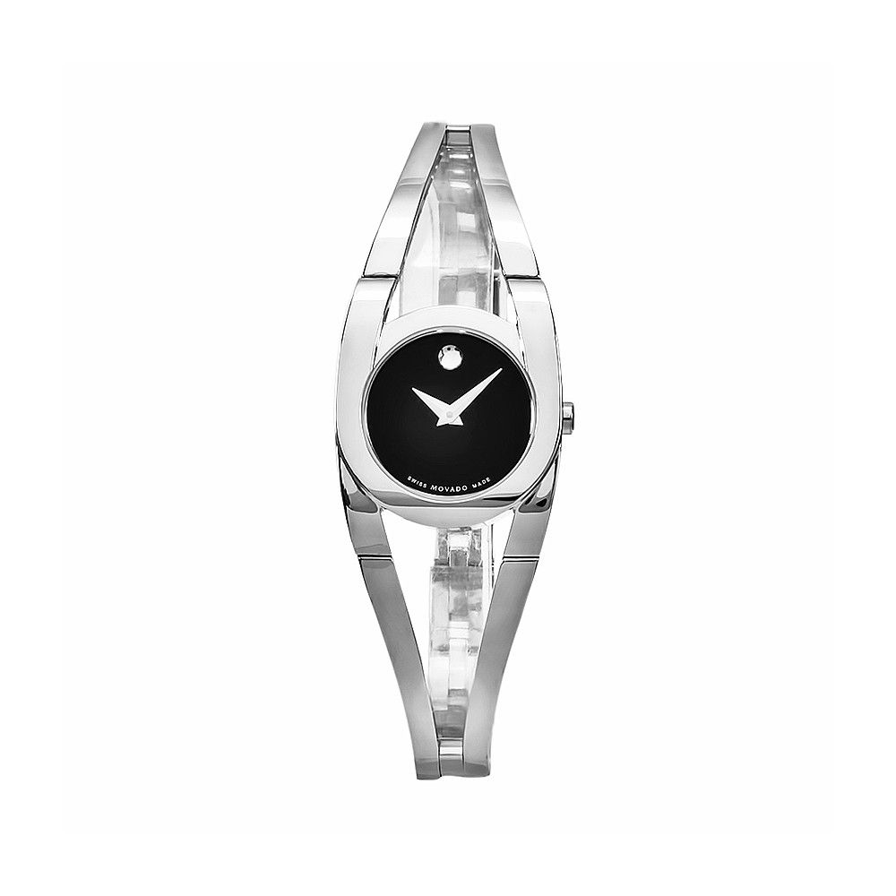 610-998 - Movado Women's Amorosa Swiss Quartz Black Dial Stainless Steel Bracelet Watch