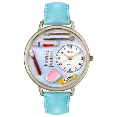 611-236 - Whimsical Watches Mid-Size Dentist Quartz Movement Miniature Detail Baby Blue Strap Watch