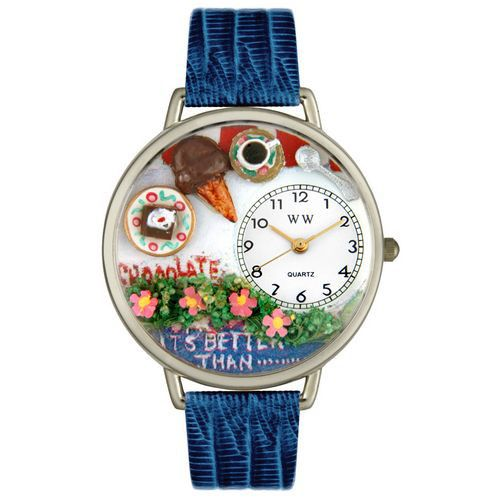 611-239 - Whimsical Watches Mid-Size Chocolate Lover Quartz Movement Miniature Detail Blue Strap Watch