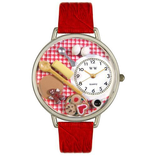 611-240 - Whimsical Watches Mid-Size Baking Quartz Movement Miniature Detail Red Leather Strap Watch