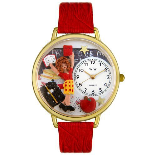 611-245 - Whimsical Watches Mid-Size Japanese Quartz Kindergarten Teacher Red Leather Strap Watch