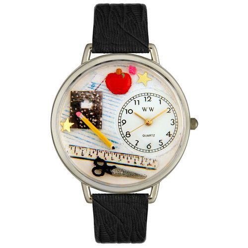 611-251 - Whimsical Watches Mid-Size Japanese Quartz Teacher Black Leather Strap Watch