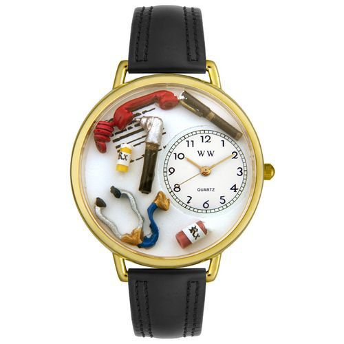 611-253 - Whimsical Watches Mid-Size Doctor Quartz Movement Miniature Detail Black Leather Strap Watch