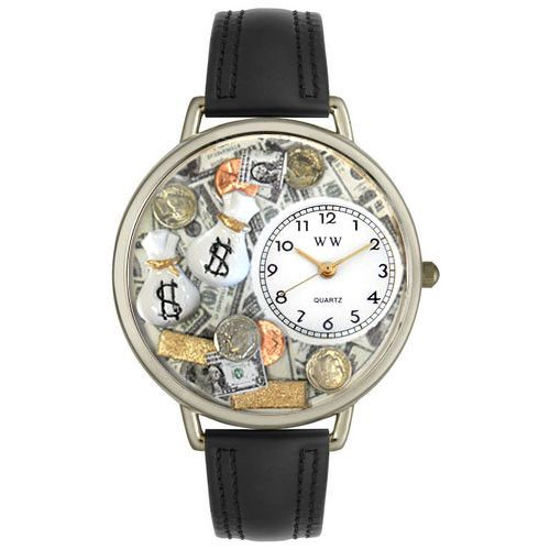 611-254 - Whimsical Watches Mid-Size Banker Quartz Movement Miniature Detail Black Leather Strap Watch
