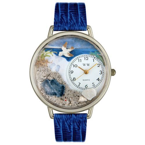 611-256 - Whimsical Watches Mid-Size Footprints Quartz Movement Miniature Detail Leather Strap Watch