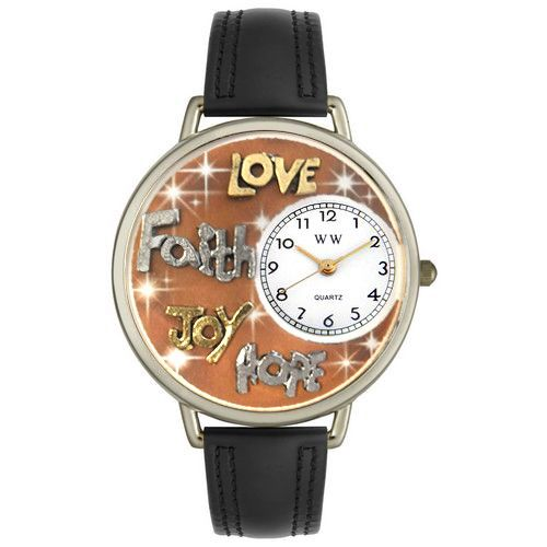 611-258 - Whimsical Watches Mid-Size Faith, Hope, Love, Joy Quartz Movement Miniature Detail Strap Watch