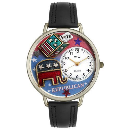 611-265 - Whimsical Watches Mid-Size Japanese Quartz Republican Black Leather Strap Watch