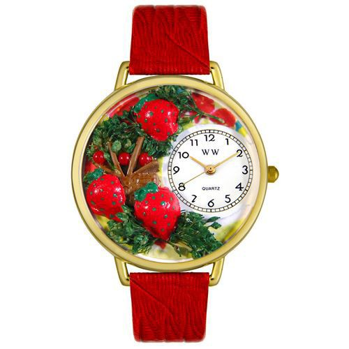611-267 - Whimsical Watches Mid-Size Japanese Quartz Strawberries Red Leather Strap Watch
