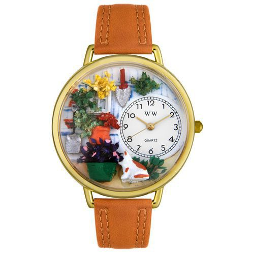 611-270 - Whimsical Watches Mid-Size Gardening Quartz Movement Miniature Detail Tan Leather Strap Watch