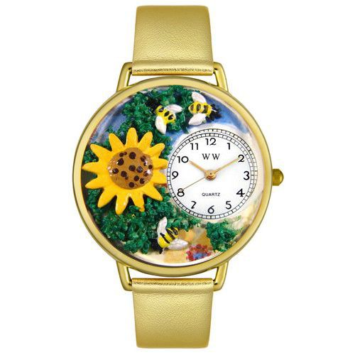 611-271 - Whimsical Watches Mid-Size Japanese Quartz Sunflower Leather Strap Watch