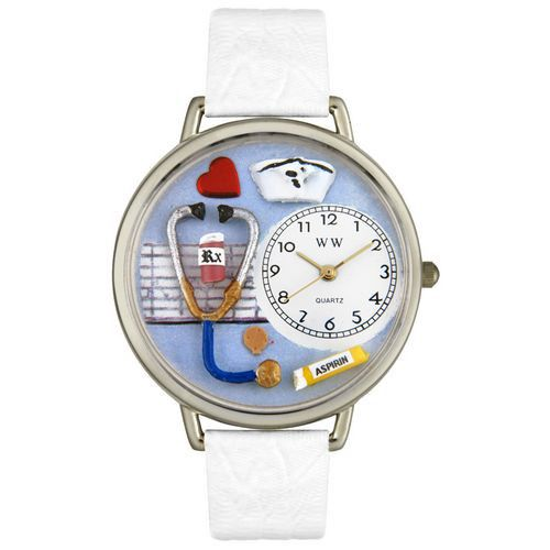 611-273 - Whimsical Watches Mid-Size Japanese Quartz Nurse White Leather Strap Watch