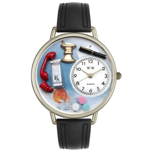 611-274 - Whimsical Watches Mid-Size Japanese Quartz Pharmacist Black Padded Leather Strap Watch