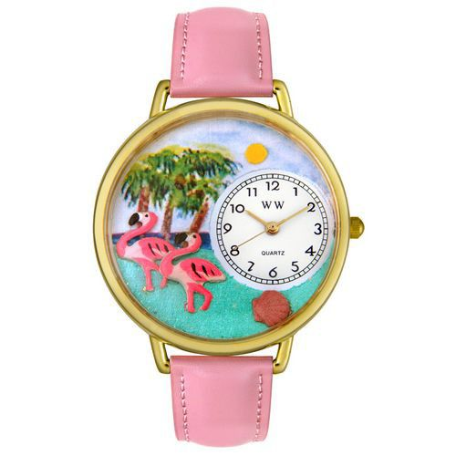 611-276 - Whimsical Watches Mid-Size Flamingo Quartz Movement Miniature Detail Pink Leather Strap Watch
