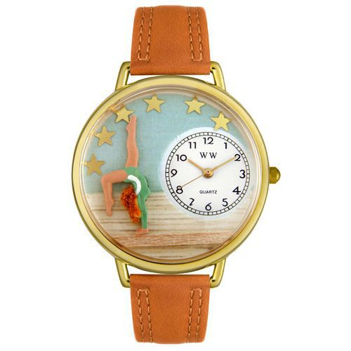 611-279 - Whimsical Watches Mid-Size Gymnastics Quartz Movement Miniature Detail Tan Leather Strap Watch