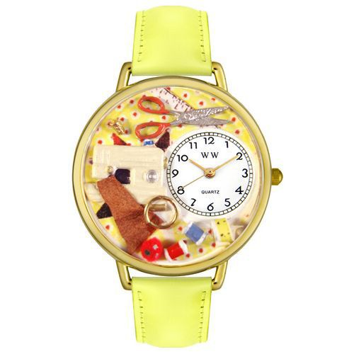 611-283 - Whimsical Watches Mid-Size Japanese Quartz Sewing Yellow Leather Strap Watch