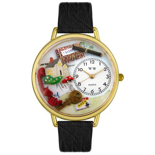 611-286 - Whimsical Watches Mid-Size Japanese Quartz Realtor Black Leather Strap Watch