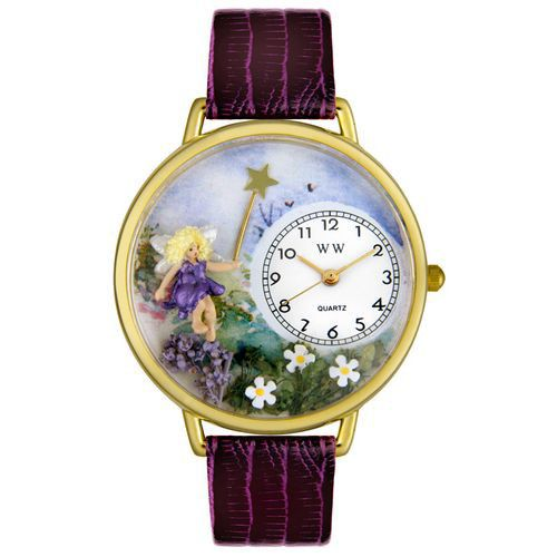 611-309 - Whimsical Watches Mid-Size Fairy Quartz Movement Miniature Detail Purple Leather Strap Watch