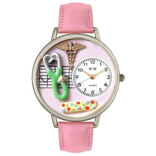 611-311 - Whimsical Watches Mid-Size Japanese Quartz Nurse Pink Leather Strap Watch