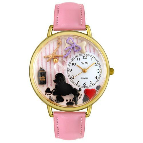 611-313 - Whimsical Watches Mid-Size Dog Groomer Quartz Movement Miniature Detail Pink Leather Strap Watch