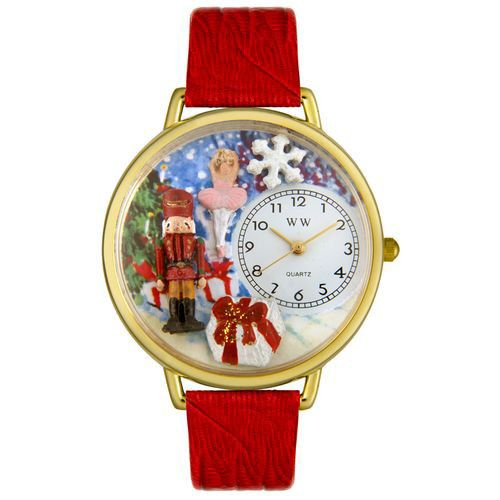 611-314 - Whimsical Watches Mid-Size Christmas Nutcracker Quartz Movement Miniature Detail Strap Watch