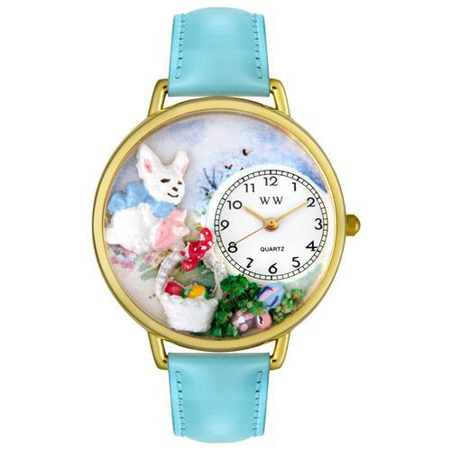 611-316 - Whimsical Watches Mid-Size Easter Eggs Quartz Movement Miniature Detail Blue Leather Strap Watch