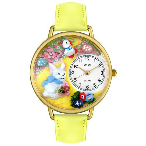 611-317 - Whimsical Watches Mid-Size Easter Bunny Quartz Movement Miniature Detail Yellow Leather Strap Watch