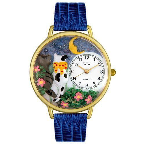 611-327 - Whimsical Watches Mid-Size Cat's Night Out Quartz Movement Miniature Detail Strap Watch