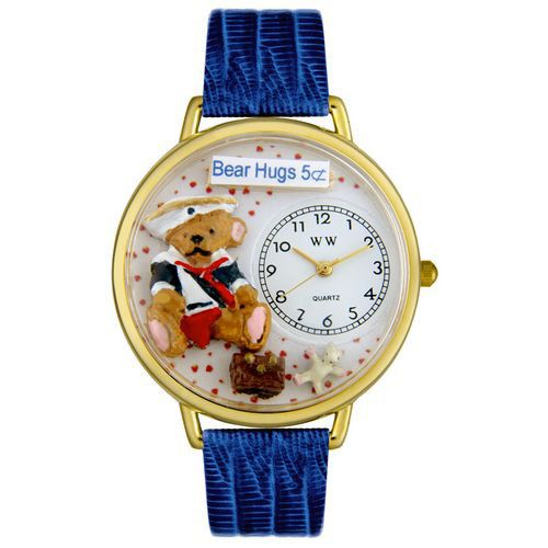 611-330 - Whimsical Watches Mid-Size Teddy Bear Quartz Movement Miniature Detail Blue Leather Strap Watch