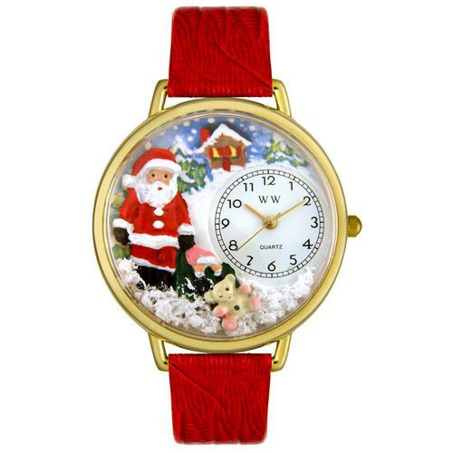 611-331 - Whimsical Watches Mid-Size Santa Claus Quartz Movement Miniature Detail Leather Strap Watch