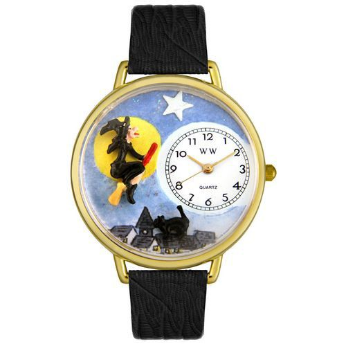 611-333 - Whimsical Watches Mid-Size Japanese Quartz Halloween Flying Witch Black Leather Strap Watch