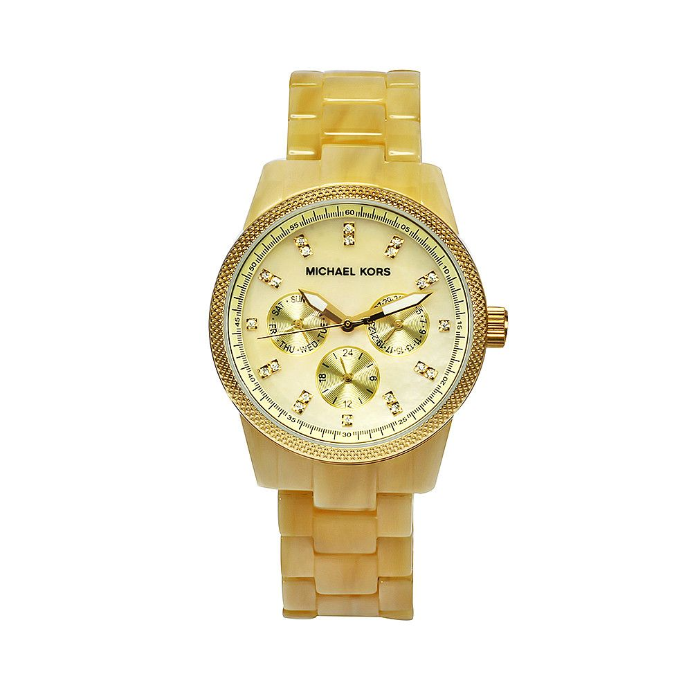 611-380 - Michael Kors Women's Jet Set Quartz Crystal Accent Gold-tone Ceramic Bracelet Watch