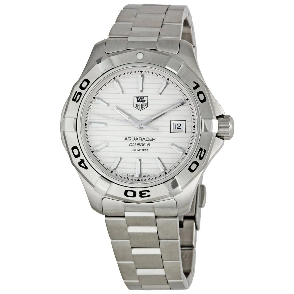 611-477 - Tag Heuer 41mm Aquaracer Swiss Quartz Pinstripe Dial Stainless Steel Bracelet Watch