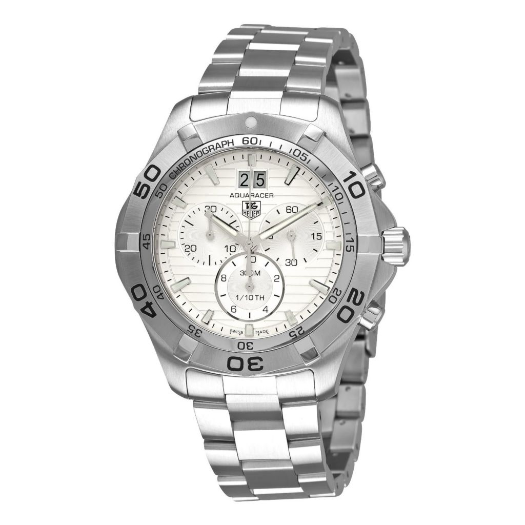 611-500 - Tag Heuer Men's Aquaracer Swiss Made Quartz Chronograph Pinstripe Dial Bracelet Watch