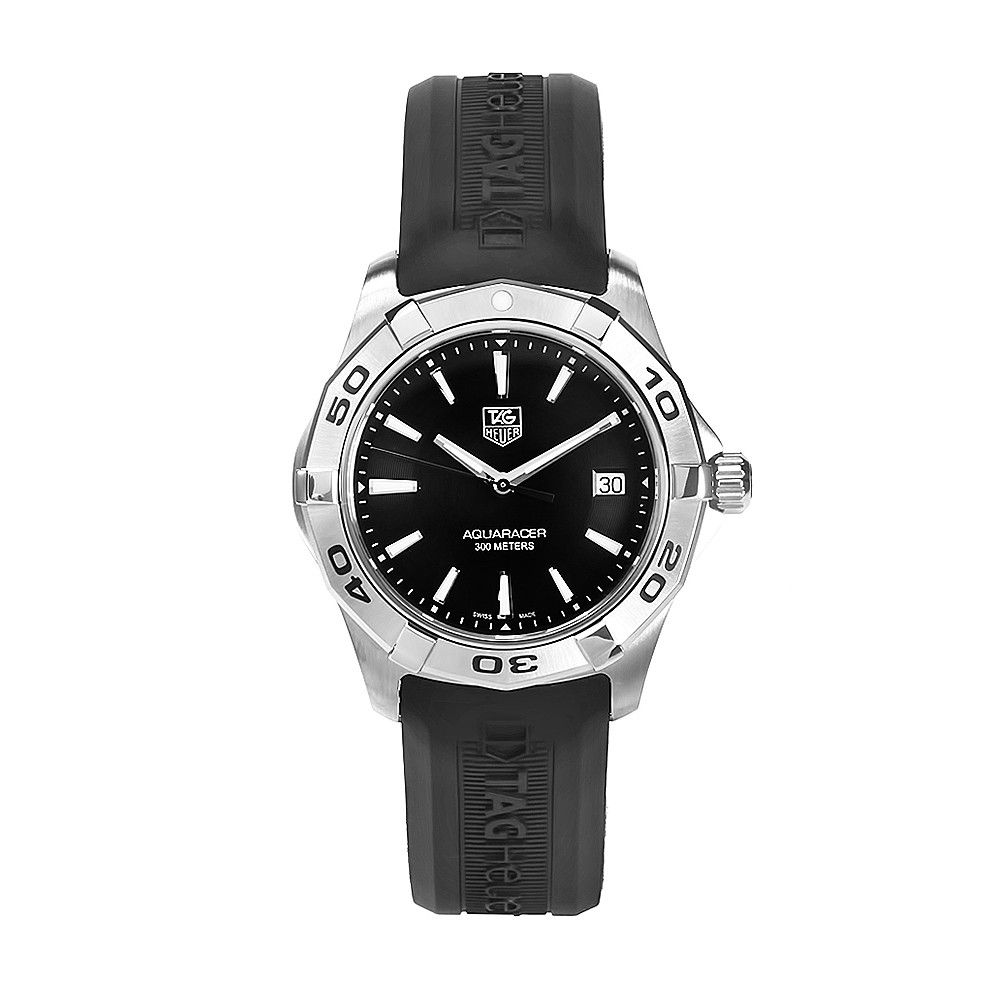 611-586 - Tag Heuer 39mm Aquaracer Swiss Quartz Black Dial & Rubber Strap Watch
