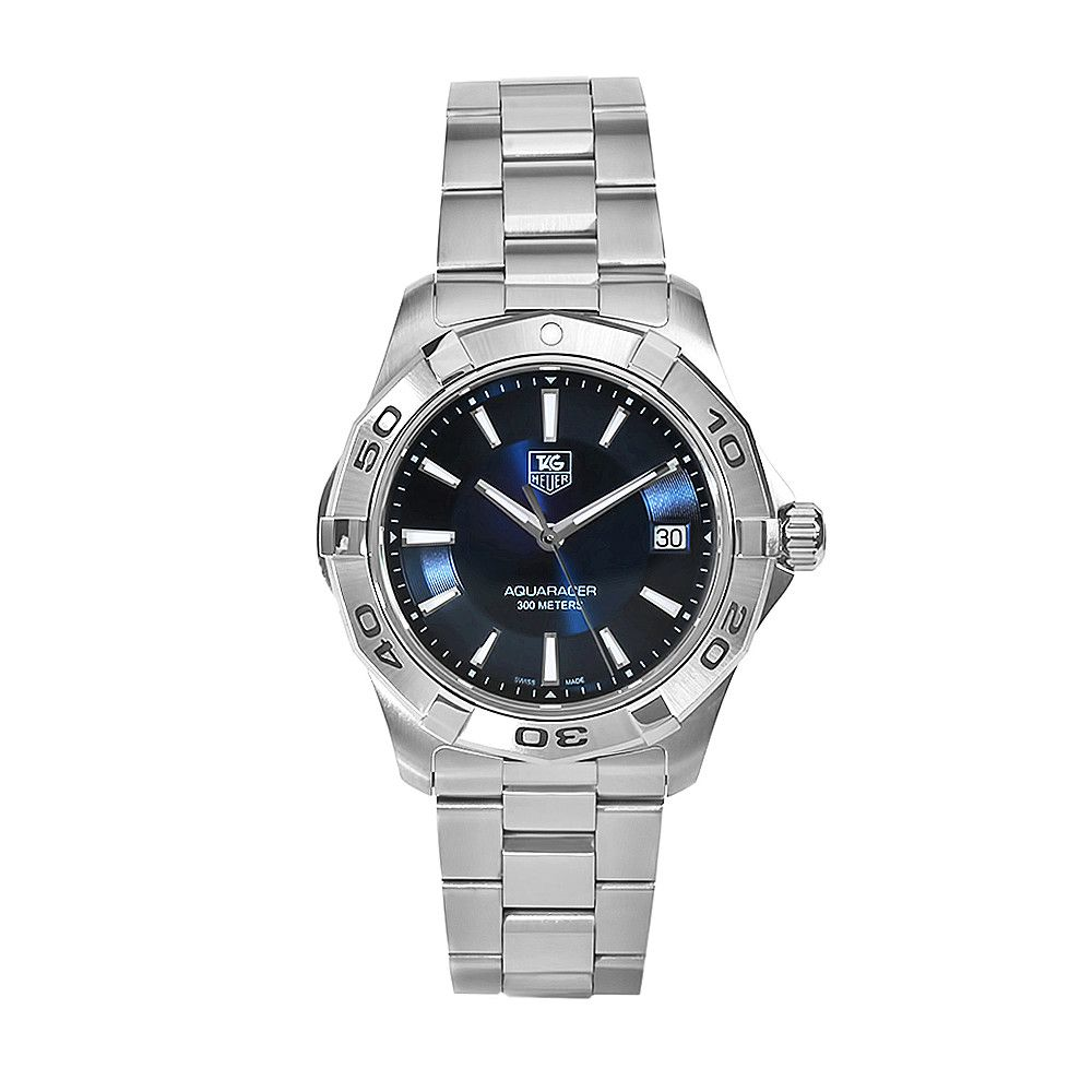 611-594 - Tag Heuer Men's Aquaracer Swiss Quartz Blue Dial Silver-tone Stainless Steel Bracelet Watch