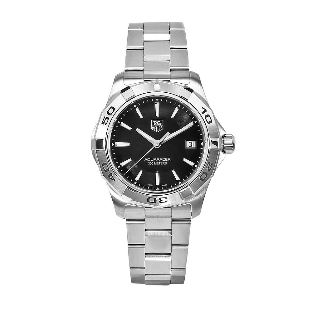611-600 - Tag Heuer 39mm Aquaracer Swiss Quartz Black Dial Silver-tone Bracelet Watch