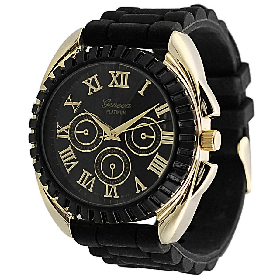 611-621 - Geneva Platinum 45.5mm Quartz Decorative Chronograph Dial Gold-tone Detail Silicone Strap Watch