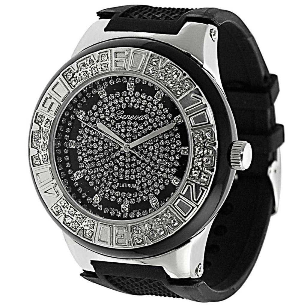 611-649 - Geneva Platinum Men's Quartz Rhinestone Detail Silver-tone Case Silicone Strap Watch