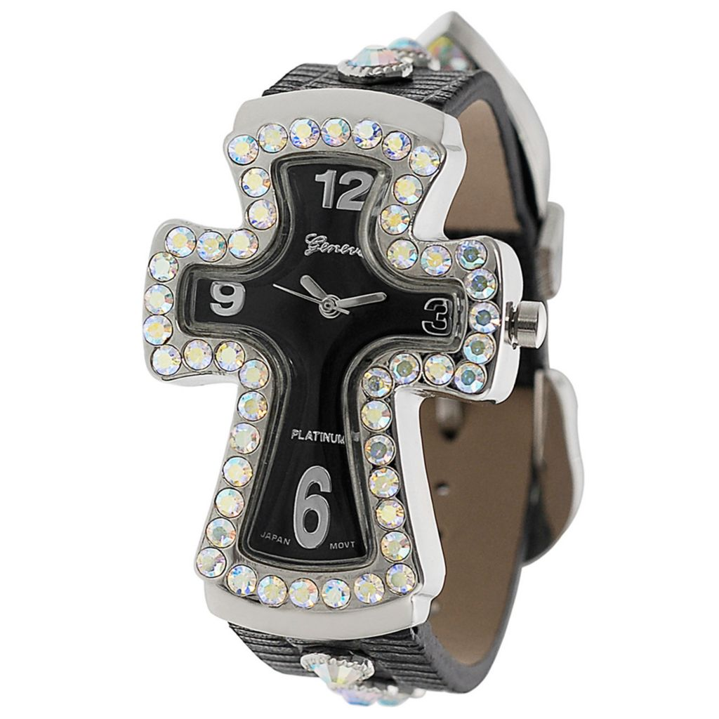 611-667 - Geneva Platinum Women's Japanese Quartz Rhinestone & Stud Detail Cross Design Strap Watch