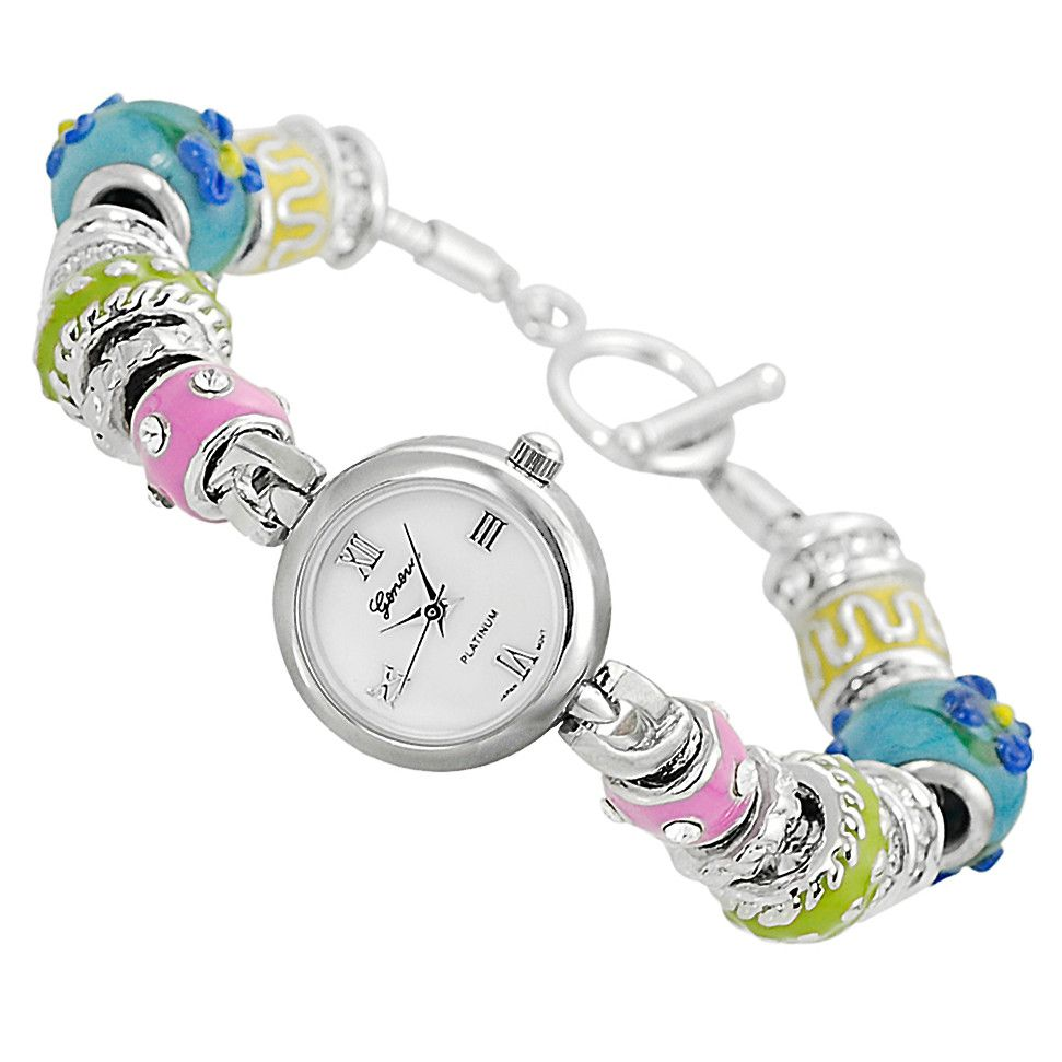 611-671 -  Geneva Platinum Women's Quartz Mother-of-Pearl Dial Rhinestone Bead Bracelet Watch