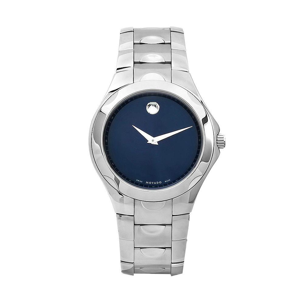 611-862 - Movado Men's Luno Swiss Made Quartz Blue Dial Silver-tone Stainless Steel Bracelet Watch