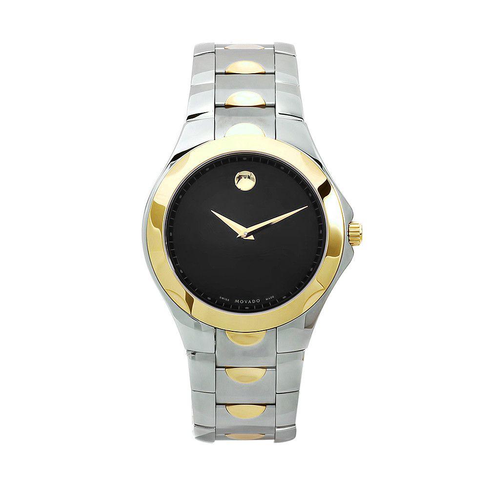 611-875 - Movado Men's Luno Swiss Made Quartz Black Dial Silver-tone/Gold-tone Stainless Steel Bracelet Watch