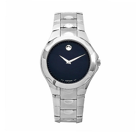 611-885 - Movado 41mm Luno Swiss Made Quartz Black Dial Silver-tone Stainless Steel Bracelet Watch