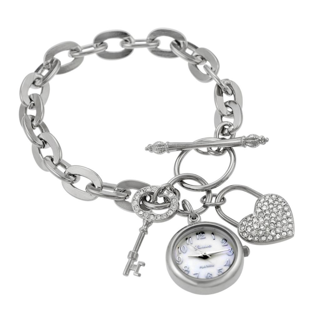 611-926 - Geneva Platinum Women's Quartz Mother-of-Pearl Dial Lock and Key Link Bracelet Watch