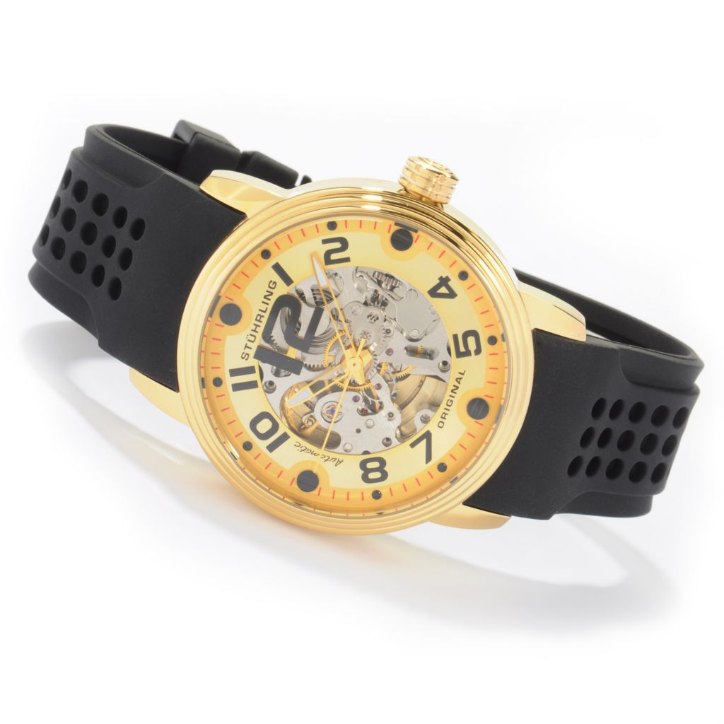 612-141 - Stührling Original 44mm Delphi Adonis Automatic Rubber Strap Watch