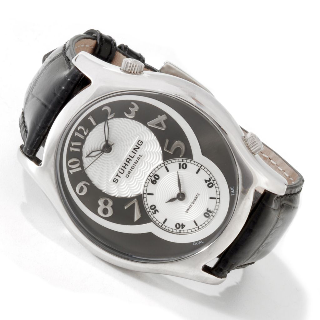 612-151 - Stührling Original 50mm Kensington Grand Quartz Dual Time Leather Strap Watch